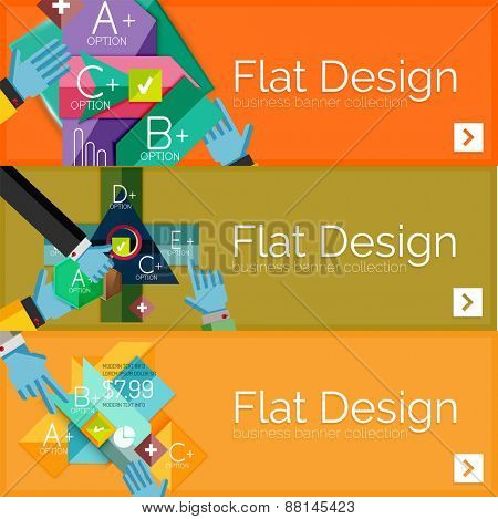 Flat design vector infographic banners with geometric infographic diagrams