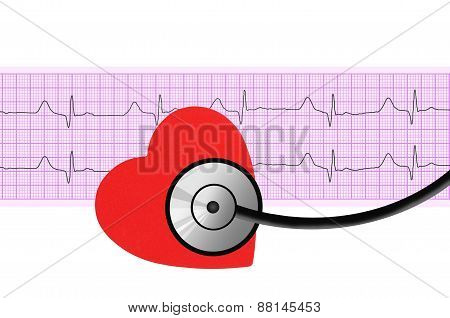 Heart And Stethoscope Over Electrocardiogram Graph On White Background