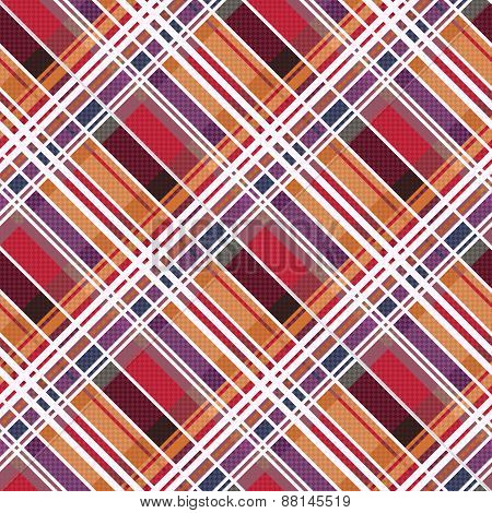 Diagonal Tartan Seamless Texture Mainly In Warm Hues
