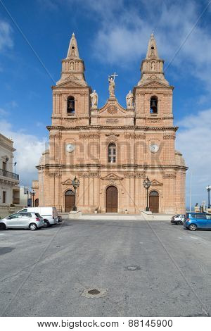 MELLIEHA, MALTA - JANUARY 10, 2015: Mellieha Parish Church dedicated to the Birth of Our Lady,