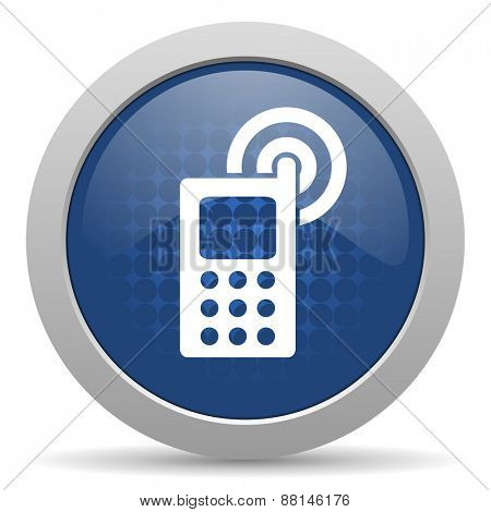 phone blue glossy web icon