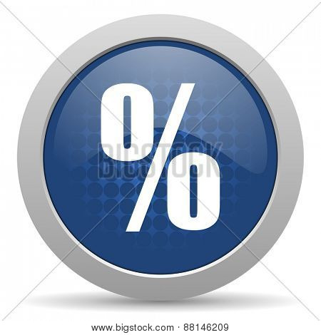 percent blue glossy web icon