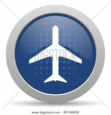 plane blue glossy web icon