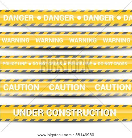 Yellow security warning tapes set Caution