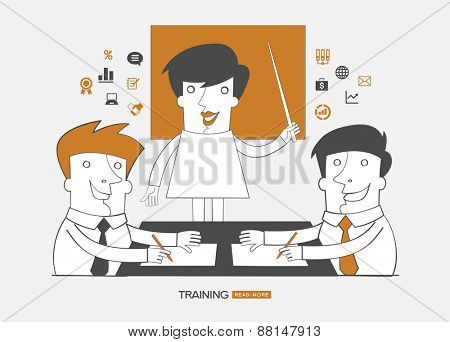 Teamwork infographics background.Concept design business training. People  surrounded interface icons.
