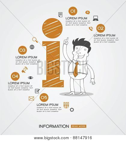 Infographics background.  Man surrounded by icon of information, business icons, text.
