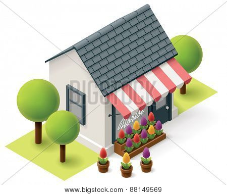 Vector isometric flower store building icon