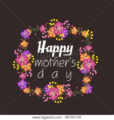 Elegant greeting card design decorated with beautiful colorful flowers for Happy Mother's Day celebration.