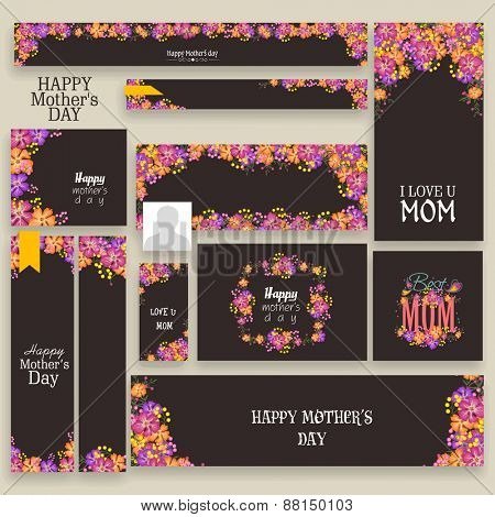 Beautiful floral design decorated social media or marketing header or banner set for Happy Mother's Day celebration.