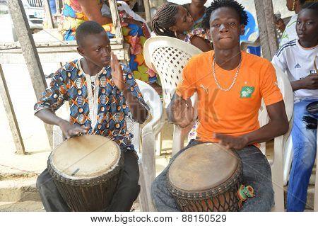 Percussionists.