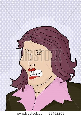 Cringing Lady With Purple Hair