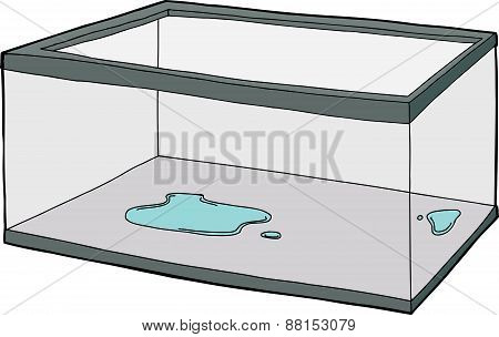 Empty Aquarium With Puddle