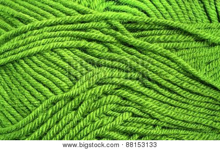 Green Wool Threads Texture Close Up