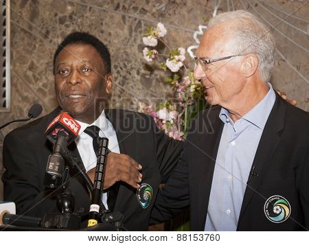 NEW YORK - APRIL 17, 2015: Soccer legends Pele and Franz Beckenbauer at the ceremony to light the Empire State Building Cosmos Green to launch and celebrate the start of the teams 2015 spring season.