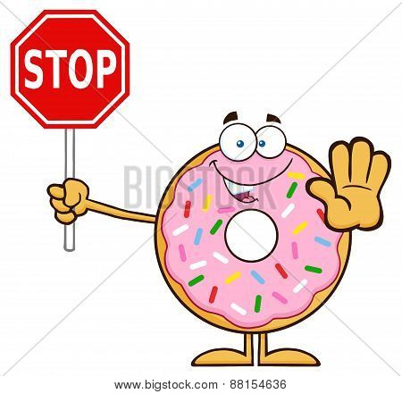 Smiling Donut Cartoon Character With Sprinkles Holding A Stop Sign