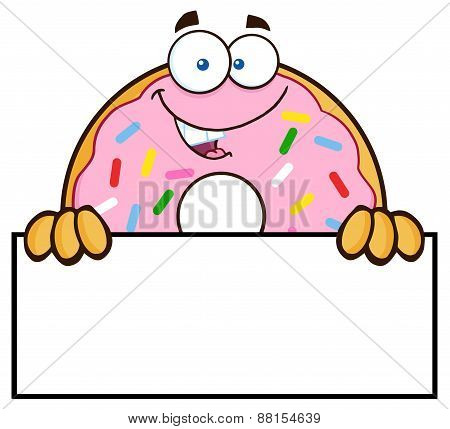Donut Cartoon Character With Sprinkles Over A Sign