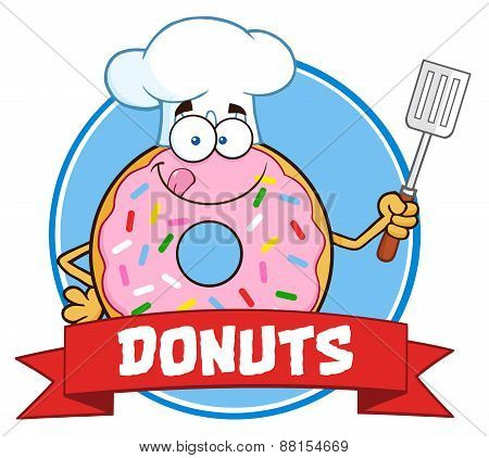 Chef Donut Cartoon Character With Sprinkles Circle Label With Text