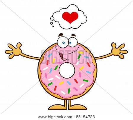 Funny Donut Cartoon Character With Sprinkles Thinking Of Love And Wanting A Hug