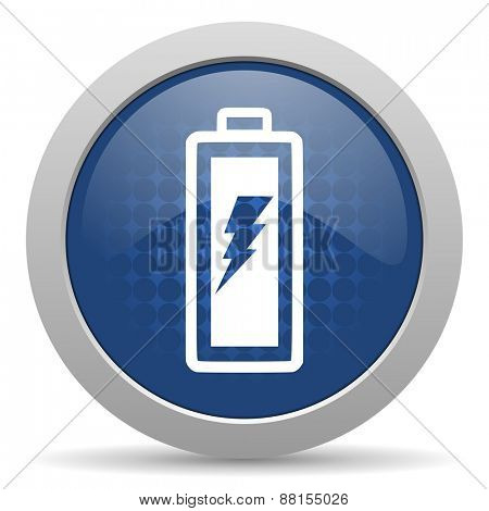 battery blue glossy web icon