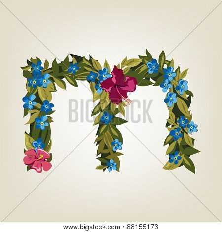 M letter. Flower  alphabet. Colorful font. Lowercase.  Vector illustration.