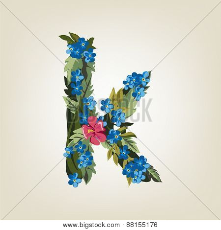 K letter. Flower  alphabet. Colorful font. Lowercase.  Vector illustration.