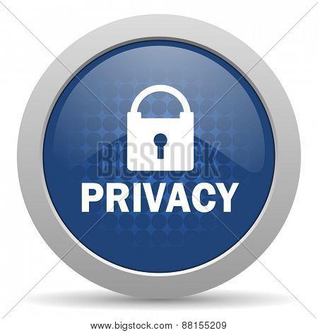 privacy blue glossy web icon