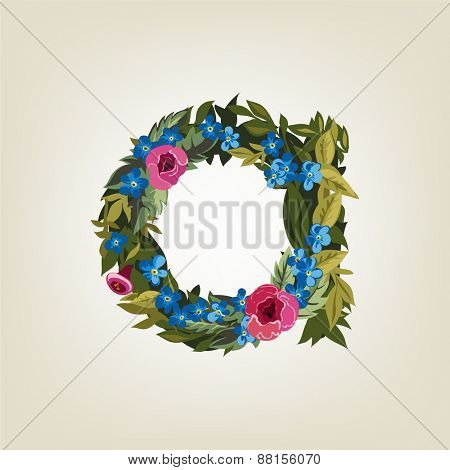 A  letter. Flower  alphabet. Colorful font. Lowercase.  Vector illustration.