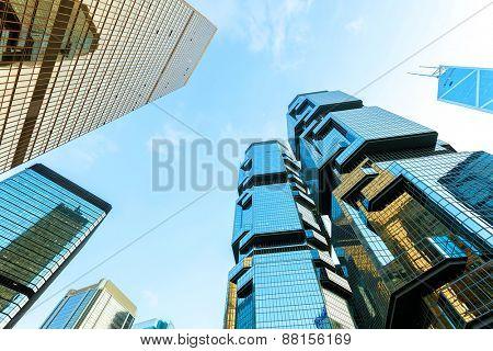 Hongkong,China-January 26,2015:low angle view of skyscrapers in modern city Hong kong.