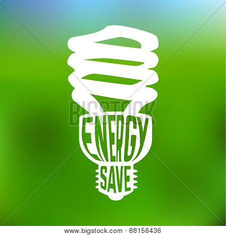 Energy save concept poster with lightbulb.