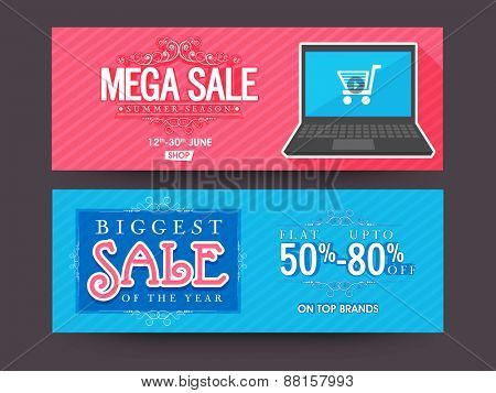 Website header or banner set of Biggest or Mega Sale with flat discount offer on top brands.