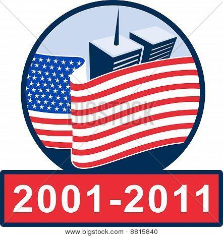 911 Gedenkstätte Twin towers amerikanische Flagge