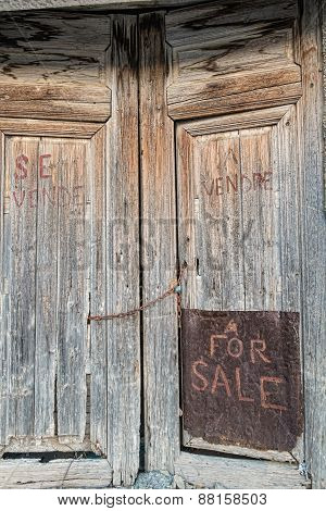 Old Door With Handwriten