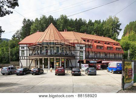 Ski resort, hotel, restaurant Blagodat at the resort Belokuriha.