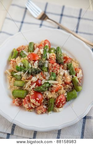 Organic Vegan Quinoa Salad with asparagus