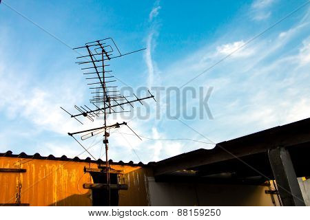 Old Tv Antenna On The Roof
