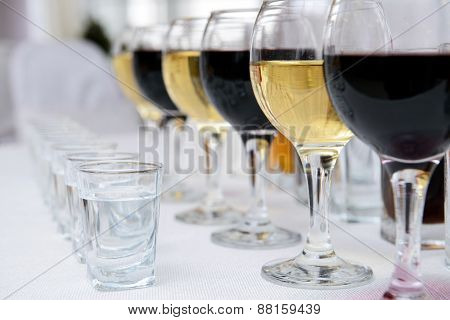 Glasses Of Red And White Vine