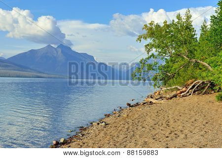 Mountains And Mcdonald Lake In Glacier National Park