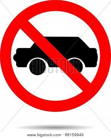 Ban Cars Sign Flat Icon