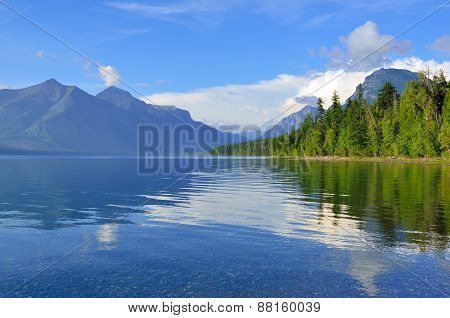 Reflection Of Mountains In Mcdonald Lake In Glacier National Park