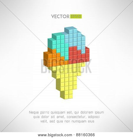 Ice cream icon in modern pixelated design. Dessert sign. Vector illustration.