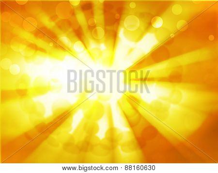 Sun On Orange Sky With Lenses Flare
