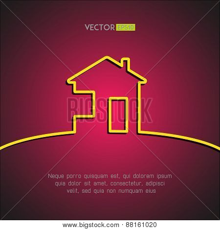 House symbol on stylish red background. Home design element. Vector illustration.