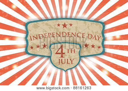 Retro Poster - Independence Day. Vintage light background