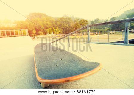 skateboard at empty skatepark