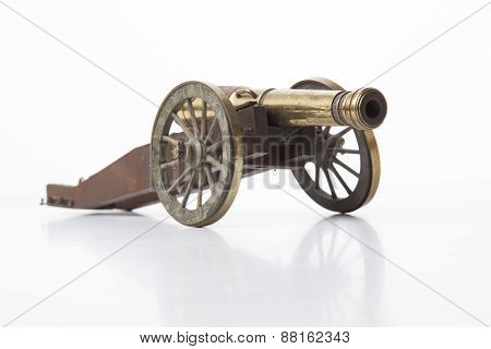 Old Cannon Model Isolated on White