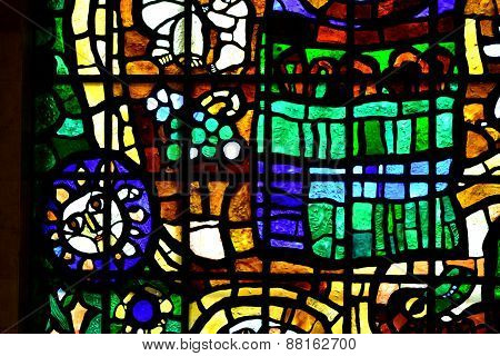 abstraction stained glass with different figures