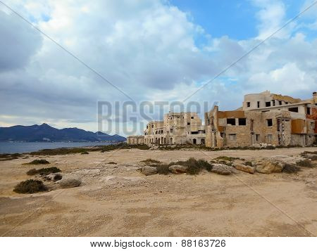 Abandoned Building On The Mediterranean Coast In Sicily