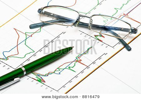 Glasses and pen on chart