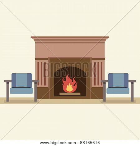 Empty Chairs And Fireplace In Living Room Interior.
