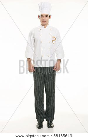 Wearing all kinds of clothing chef dietitian in front of white background